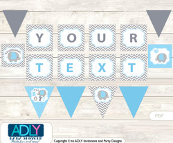 Personalized Grey Blue Elephant Printable Banner for Baby Shower, Boy, Chevron