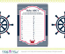 ABC's Game Nautical Baby Shower Game Printable for a Nautical Boy Party - anchor,sailboat, blue red DIY- ONLY digital file - you print SKU41