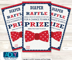 Man Bow Tie Diaper Raffle Printable Tickets for Baby Shower, Blue, Red Navy