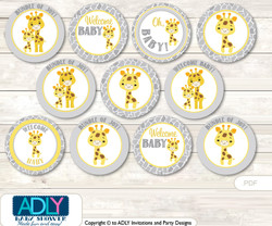 Baby Shower Neutral Giraffe Cupcake Toppers Printable File for Little Neutral and Mommy-to-be, favor tags, circle toppers, Safari, Grey Yellow