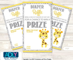 Neutral Giraffe Diaper Raffle Printable Tickets for Baby Shower, Grey Yellow, Safari