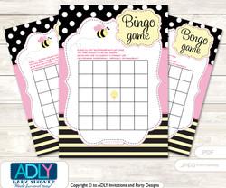 Printable Babee Bumble Bee Bingo Game Printable Card for Baby Pink Shower DIY grey, Babee, Yellow