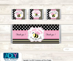 Pink Bumble Bee Chocolate Bar Wrapper and Nuggets Candy Wrapper Label for Baby Pink Shower  Babee , Yellow