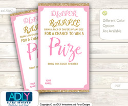 Girl Bokeh Diaper Raffle Printable Tickets for Baby Shower, Gold Pink, Glitter