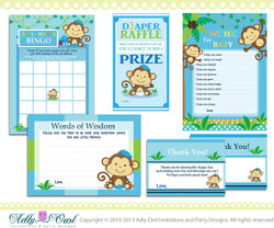 Blue Boy Monkey Baby Shower Essentials Printable Party Kit with Blue, green, navy, brown- ONLY digital file - you print ao01