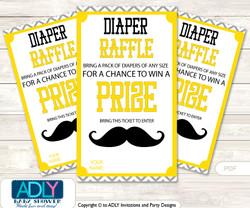 Yellow Mustache Diaper Raffle Printable Tickets for Baby Shower, Grey, Chevron