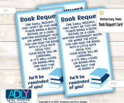 Blue Boy Book Request Ticket for Baby Shower Printable DIY Tickets, Book instead of card, It's a Boy, matches all themes, help library