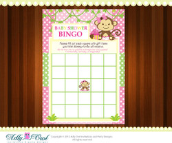 Pink Girl Monkey Bingo Game Printable Card for Baby Boy Shower DIY  - ONLY digital file - you print