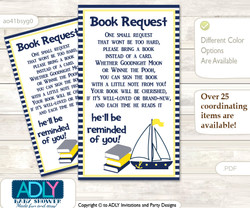 Request a Book Instead of a Card for Nautical Boy Baby Shower or Birthday, Printable Book DIY Tickets, Grey,Navy
