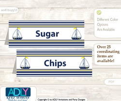 Printable Nautical Boy Buffet Tags or Food Tent Labels  for a Baby Shower or Birthday , Navy, Grey