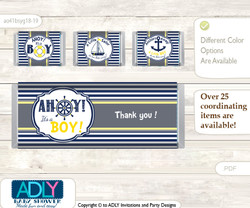 Nautical Boy Chocolate Bar Wrapper and Nuggets Candy Wrapper Label for Baby Nautical Shower  Navy , Grey
