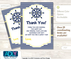 Nautical  Boy Thank you Cards for a Baby Nautical Shower or Birthday DIY Navy, Grey