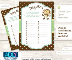 Neutral Monkey Baby ABC's Game, guess Animals Printable Card for Baby Monkey Shower DIY –Polka