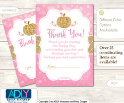 Girl  Pumpkin Thank you Cards for a Baby Girl Shower or Birthday DIY Pink Gold, Glitter