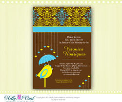 Personalized Baby bird Baby Shower Printable DIY party invitation with hearts for boy - ONLY digital file - you print