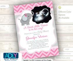 Pink Grey Elephant Ultrasound Photo Baby Shower invitation for girl,purple chevron, ultrasonic,photo, gray- you print sku46bs