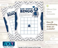 Printable Dark Blue Elephant Bingo Game Printable Card for Baby Peanut Shower DIY grey, Dark Blue, Chevron