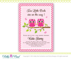 Twin Girl Owls Invitation for a Baby Shower in baby pink and hot pink