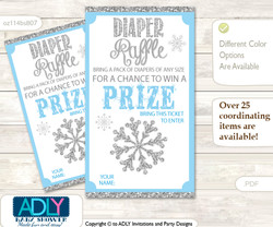 Boy Snowflake Diaper Raffle Printable Tickets for Baby Shower, Blue Grey, Silver