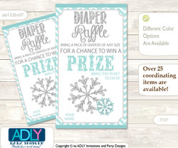 Neutral Snowflake Diaper Raffle Printable Tickets for Baby Shower, Aqua Grey, Chevron