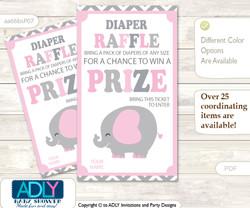 Girl Elephant Diaper Raffle Printable Tickets for Baby Shower, Polka, Chevron