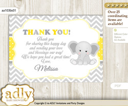 Elephant Thank you Printable Card with Name Personalization for Baby Shower