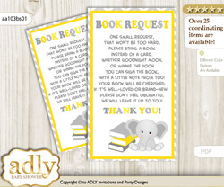 Request a Book Instead of a Card for Grey Elephant Baby Shower or Birthday, Printable Book DIY Tickets, Chevron,Yellow