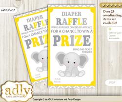 Grey Elephant Diaper Raffle Printable Tickets for Baby Shower, Yellow, Chevron