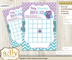 Printable Teal Purple Owl Bingo Game Printable Card for Baby Girl Shower DIY grey, Teal Purple, Chevron