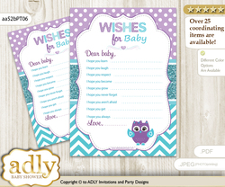 Girl Owl Wishes for a Baby, Well Wishes for a Little Owl Printable Card, Chevron, Teal Purple