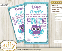 Girl Owl Diaper Raffle Printable Tickets for Baby Shower, Teal Purple, Chevron