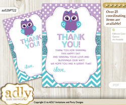 Girl  Owl Thank you Cards for a Baby Girl Shower or Birthday DIY Teal Purple, Chevron
