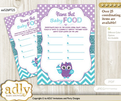 Girl Owl Guess Baby Food Game or Name That Baby Food Game for a Baby Shower, Teal Purple Chevron