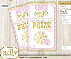 Girl Snowflake Diaper Raffle Printable Tickets for Baby Shower, Pink Gold, Chevron