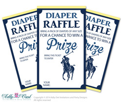 Boy Polo Diaper Raffle Tickets Printable for Baby Boy Shower DIY navy yellow sport shower - ONLY digital file