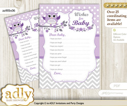 Girl Owl Wishes for a Baby, Well Wishes for a Little Owl Printable Card, Chevron, Purple Grey