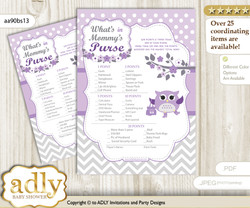 Girl Owl What is in Mommy's Purse, Baby Shower Purse Game Printable Card , Purple Grey,  Chevron
