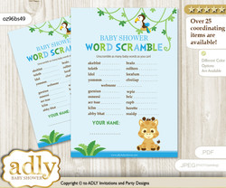 Boy Giraffe Word Scramble Game for Baby Shower