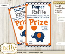 Boy Elephant Diaper Raffle Printable Tickets for Baby Shower, Chevron, Chevron