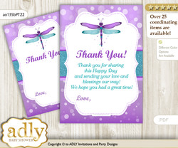 Girl  Dragonfly Thank you Cards for a Baby Girl Shower or Birthday DIY Purple Teal, Glitter
