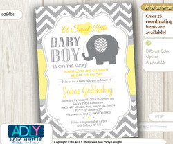 Yellow Grey Elephant with Balloon, Chevron Invitation for Baby Shower, for boy or gender neutral
