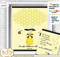 Girl Bee Guest Book Alternative for a Baby Shower, Creative Nursery Wall Art Gift, Yellow Black, Polka