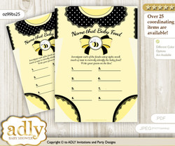 Girl Bee Guess Baby Food Game or Name That Baby Food Game for a Baby Shower, Yellow Black Polka