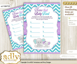 Girl Elephant Guess Baby Food Game or Name That Baby Food Game for a Baby Shower, Purple teal Peanut