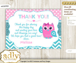Girl Owl Printable Card with Name Personalization for Baby Shower or Birthday Party