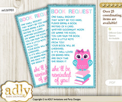 Request a Book Instead of a Card for Girl Owl Baby Shower or Birthday, Printable Book DIY Tickets, Teal, Pink
