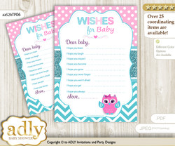 Girl Owl Wishes for a Baby, Well Wishes for a Little Owl Printable Card, Teal, Pink