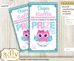 Girl Owl Diaper Raffle Printable Tickets for Baby Shower, Pink, Teal