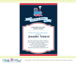 It's a boy Blue Red Train Baby Boy Shower Printable DIY party invitation for boy, Train Invitation, choo