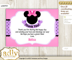 Girl Minnie Printable Card with Name Personalization for Baby Shower or Birthday Party